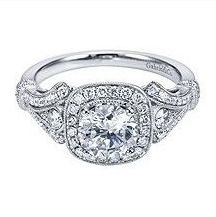 Gabriel & Co. White Gold Victorian Cushion Halo Setting This glamorous Gabriel & Co. Cushion Halo Engagement Ring Setting is reminiscent of glam & glitz. With a gorgeous diamond halo ce… Halo Diamond Engagement Ring, Antique Engagement Rings, Engagement Jewelry, Engagement Ring Settings, Wedding Jewelry, Wedding Rings, Wedding Band, Oval Engagement, Engagement Ideas