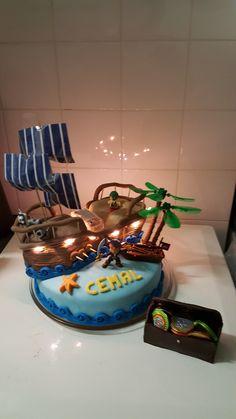 Piratenschip taart met verlichting
