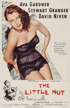 The Little Hut (1957) Vintage Movie Poster -  starring Ava Gardner, Stewart Granger & David Niven