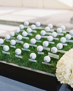"""The Escort """"Cards""""Guests' names and table assignments were written on golf balls and placed teed up on a tray of wheat grass. They were the perfect nod to the groom's career as a golf pro. Golf Wedding, Sports Wedding, Wedding Table Names, Star Wedding, Wedding Place Cards, Wedding Themes, Wedding Ideas, Wedding Stuff, Themed Weddings"""