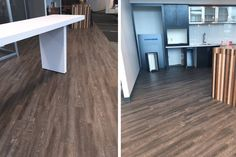 The luxury vinyl office flooring installation at Becovic Management Group is inspired by nature thanks to the design of InGrained: Antique Chestnut. Flooring Installation, Luxury Vinyl Flooring, Floor Design, Offices, Dining Table, Antique, Wood, Outdoor Decor, Inspiration