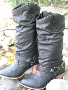Cowboy boot vintage black high sexy heel by OutOfMyMamasAttic, $39.99