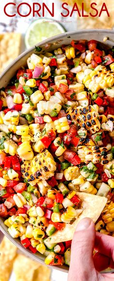 This Corn Salsa is a MUST MAKE recipe! It's a rainbow of bright flavors and textures in every fiesta bite! This Corn Salsa recipe can be served as an appetizer or pile it on tacos, quesadillas, grilled chicken, salmon, pork etc. Corn Salsa Recipe Canning, Fresh Salsa Recipe, Recipe With Fresh Corn, Taco Cabana Salsa Recipe, Corn Salsa Recipes, Corn Pico Recipe, Corn Salsa Salad Recipe, Salsa Recipe Without Cilantro, Vegetarian Recipes