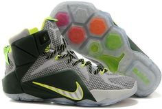 sale retailer cb5ba 65fa6 LeBron 12 PS Elite Grey Green Shoes Nike Shoes Online, Nike Kd Shoes,  Converse