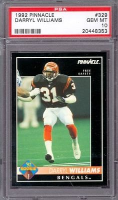 1992 Pinnacle #329 Darryl Williams Bengals PSA 10 pop 2 by Pinnacle. $6.00. 1992 Pinnacle #329 Darryl Williams Bengals PSA 10 pop 2. If multiple items appear in the image, the item you are purchasing is the one described in the title.