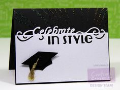 Designed by Lori Barnett. Die, cardstock and stencil fro @CraftersCompUS  Edge'ables - Celebrate In Style Die; Sheena Decorative Stencil - Burst; Shimmering Cardstock Black and White Pearl. #crafterscompanion