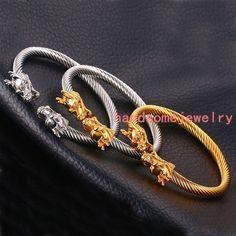 Fashion Stainless Steel Silver Gold Black Dragon Cuff Bangle Men Women Bracelet