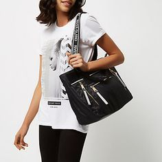 Checkout this Black nylon zip tote bag from River Island