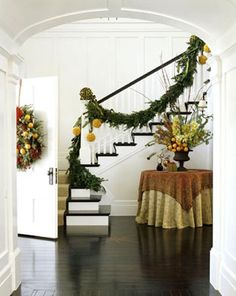Bannister with fruit and garland www.christinamarieinteriors.com