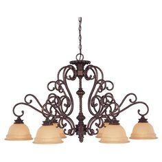 Illuminate your foyer or dining room with this elegant 6-light chandelier, featuring a scrolling design and bronze finish.    Produc...