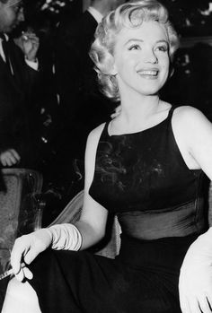 Marilyn Monroe at a press conference, 1956.