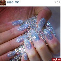 Light Blue Iridescent Glitter Nails