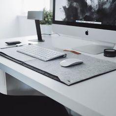Grey felt desk mats available at ultralinxstore.com. Link in bio.