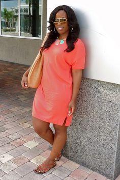 Zara colorblock necklace and H T-shirt dress