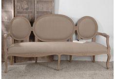 Sofa Médaillons Triple Cérusé Et Tissus Taupe Amadeus
