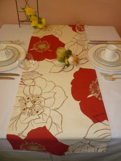 Table Runner Red Brown Cream Floral