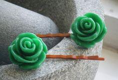 VINTAGE GREEN FLOWERS orange metal bobby pin hair slides £3.00