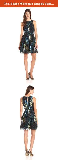 Ted Baker Women's Ameda Twilight Floral Printed Pleat Dress, Black, 5. Ameda twilight printed floral sleeveless pleated dress.