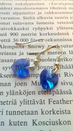Heart earrings Deep Blue  Wedding Silver plated Crystal by Ribas, $9.00