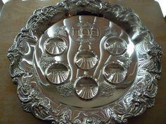 Judaica vintage silverplated Passover Seder Plate 14 by shainkeit
