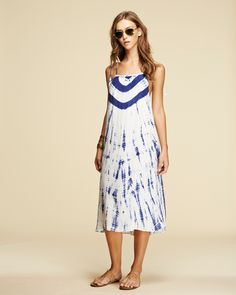Tie Dye Tassel Dress in Navy – PEPIN