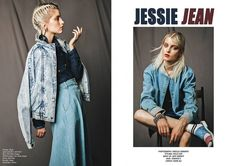 JESSIE JEAN Editorial in KIT Magazine  Styling by Holly Cox  Model Wears:  (Left) TWP Button-through Midi Skirt Denim http://www.thewhitepepper.com/collections/bottoms/products/button-through-midi-skirt-denim (Right)  Oversized Denim Bomber Jacket  http://www.thewhitepepper.com/collections/coats-jackets/products/oversized-denim-bomber-jacket #TWP