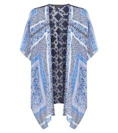 Navy Scarf Print Lace Back Kimono