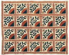"""Estimated: 400 - 600  Realized Price: 415  Pennsylvania cherry blossom appliqué quilt, late 19th c., with sawtooth border, 90"""" x 76""""."""