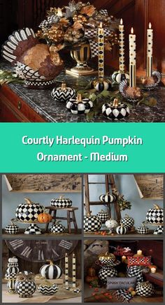 Decorative pumpkin Material: polyresin Dimensions: Turns the Courtly Check pattern into harlequin diamonds Topped with a golden stem In classic MacKe Pumpkin Ornament, Diamond Tops, Pumpkin Decorating, Home Accessories, Diamonds, Seasons, Ornaments, Patterns, Halloween