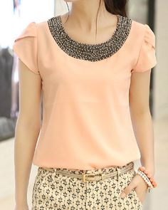 Casual Scoop Neck Short Sleeves Beading Chiffon Blouse For Women