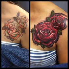 Tattoo by Mark Stewart of Four Aces Tattoo in Aldinga Beach, South Australia. Freehanded roses done in colour on the chest / shoulder. Thanks for looking :) Instagram: @markstew_art