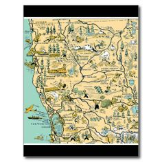 Vintage Upper Northern California Map- modify for save the date postcards