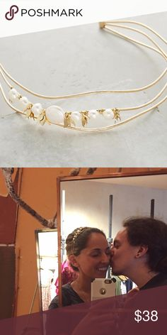 ANTHROPOLOGIE FRESHWATER PEARL FLUTTER HEADBAND Gently loved and like new. Gorgeous design and comfortable fit. Would be a stunning wedding accessory. Anthropologie Accessories Hair Accessories