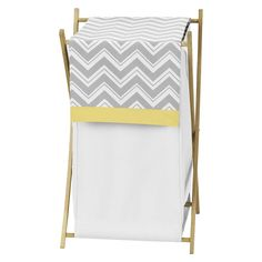 Sweet Jojo Designs Chevron ZigZag Laundry Hamper- Gray-Yellow-White