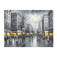 Pairs Street View Vintage oil painting