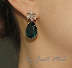 Emerald Green Earrings, Cubic Zirconia Orchid, Swarovski Crystal Earrings - Wedding Earrings, Bridesmaid Earrings, Bridal Jewelry (E249). $38.99, via Etsy.