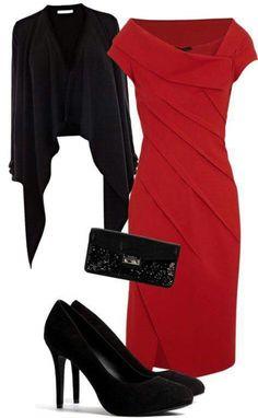 Red Dress & Black Coat