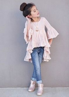 Royal Bambini - Joyfolie Boho Hi Lo Oberteil in Blush - Kindermodels - KidFashion Little Girl Outfits, Little Girl Fashion, Cute Outfits, Boy Outfits, Dress Outfits, Tween Fashion, Toddler Fashion, Fashion Children, Girls Fashion Kids