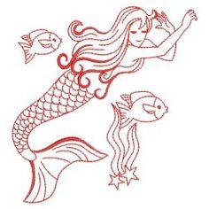 Redwork Mermaid