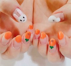 60 cute and colorful easter nail art designs for spring 2019 18 Easter Nail Designs, Easter Nail Art, Cute Nail Designs, Nail Designs Spring, Kawaii Nail Art, Cute Nail Art, Cute Nails, My Nails, Oval Nails