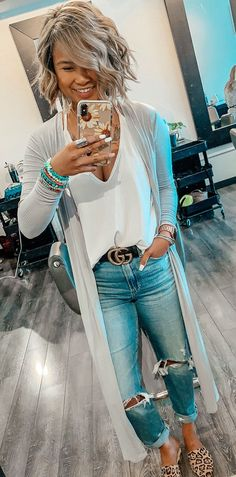 gray open cardigan #spring #outfits