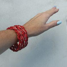 Na vlnách flamenca, weaving bracelet, rattan weaving, nature, bicolour, ripples sample, flamenco, woven, nature, natural