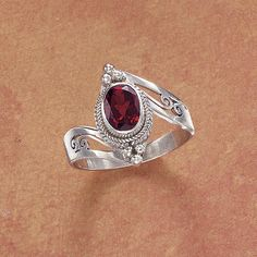 Indian Garnet Ring - New Age, Spiritual Gifts, Yoga, Wicca, Gothic, Reiki, Celtic, Crystal, Tarot at Pyramid Collection