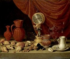 Antonio de Pereda - Still Life with Pendulum Philippe De Champaigne, Seashell Painting, Spanish Painters, Vanitas, Sculpture, Old Master, Natural Forms, Golden Age, Art History