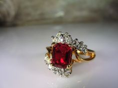 1980s, Ruby Red Ring,Emerald Cut Red Stone,18K HGE Ring,Electroplated Gold Ring,Rhinestone Accented Ring,Cocktail Ring,Vintage Ring – Size 7 by CarolsVintageJewelry on Etsy