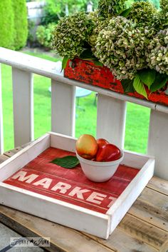 An old sign styled milk painted pallet wood tray in tricycle / via FunkyJunkInteriors.net