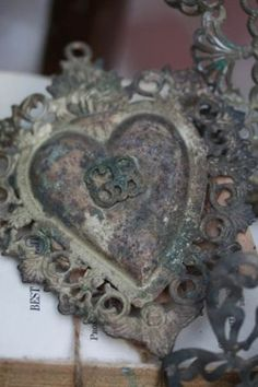 beautiful old metal heart. I Love Heart, Key To My Heart, With All My Heart, Heart Art, Vintage Valentines, Be My Valentine, Vintage Love, Vintage Heart, Vintage Metal