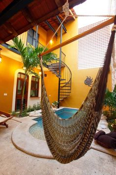 A bohemian room represents freedom and ease. It becomes your private sanctuary that has a strong component of comfort and free-spirited interior. Spanish House, Spanish Style, Outdoor Rooms, Outdoor Living, Outdoor Decor, Amazing Swimming Pools, Zen, Southwestern Home, Spanish Architecture