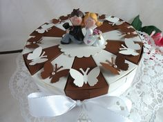 Hochzeitstorte/Schachteltorte in braun  23cm von IdeenOase auf DaWanda.com
