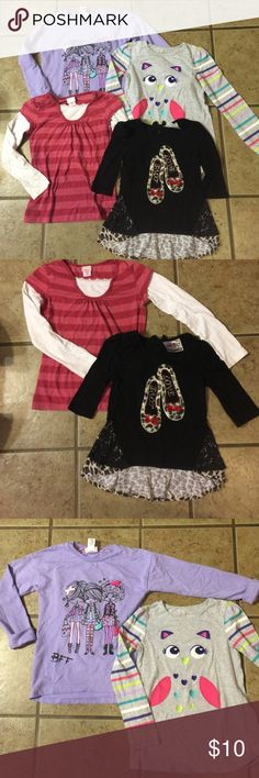 GIRLS SIZE 7 LONG SLEEVE BUNDLE Jumping Beans owl rainbow striped long sleeve t, Fleurish Girl purple BFF cuffed long sleeve t (all beads in tact), pink striped xhiliaration long sleeve t, Beautees black ballet slipper (furry leopard print) 3/4 t with leopard print with lace overlay flare at waist ( all beads in tact). *** smoke free home Shirts & Tops Tees - Long Sleeve